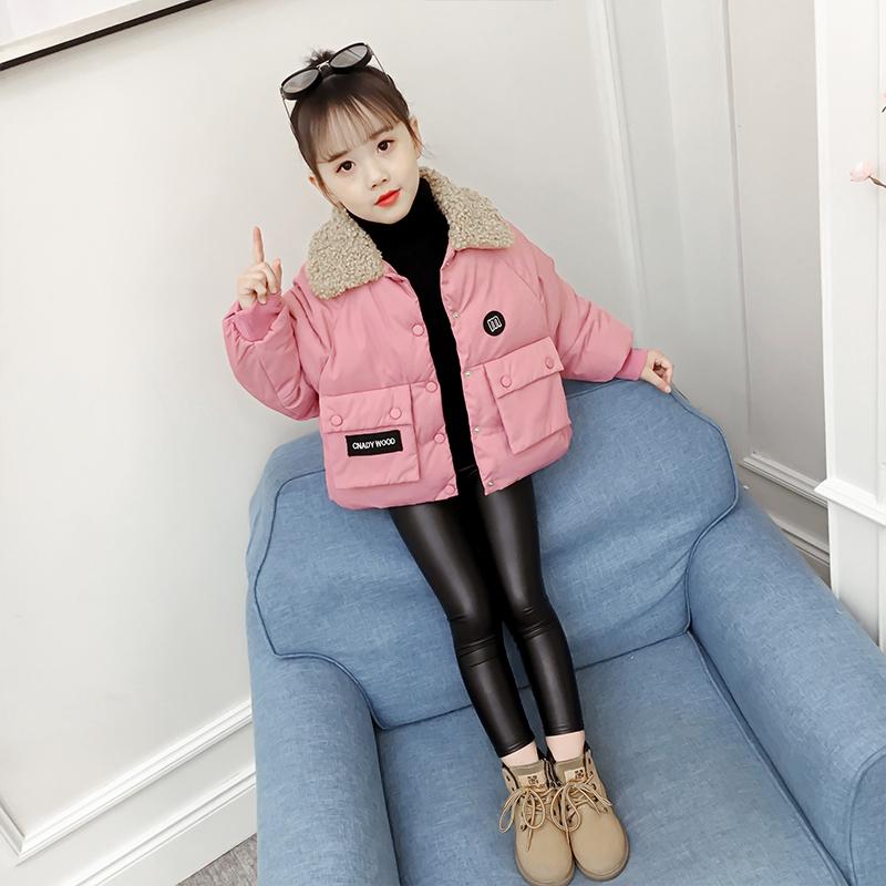 女童棉衣小女孩洋气短款儿童装冬装加厚羽绒外套棉袄 粉