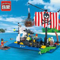 启蒙积木拼插塑料拼装积木 海盗系列302沉船模型 儿童玩具益智