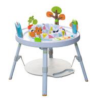 ?婴儿跳跳健身椅宝宝弹跳健身架多功能游戏桌脚踏钢琴玩具3-18个月 浅灰色