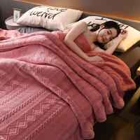 双层羊羔绒加厚珊瑚绒毯子双人保暖午睡毯单人法兰绒冬季毛毯被子 摩洛哥- 豆沙红
