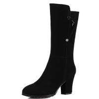 冬款保暖绒里真皮粗跟靴子女中筒靴高跟圆头磨砂皮女靴中靴 黑色
