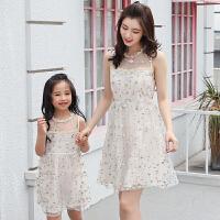 新款亲子装夏季母女连衣裙女童公主礼服裙蕾丝刺绣网纱裙子潮