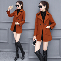 矮个子冬装妮子外套西装领小个子毛呢外套女中长款风衣焦糖色大衣