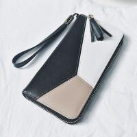 女士钱包学生长款拉链大容量手包时尚拼色手机包