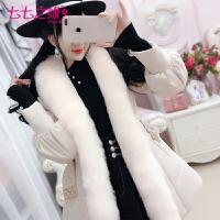 冬装新款女装韩版 米色大毛领中长款棉衣外套