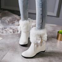彼艾2018冬季毛线筒雪地靴内增高休闲女棉鞋平底女短靴韩版流苏中筒靴