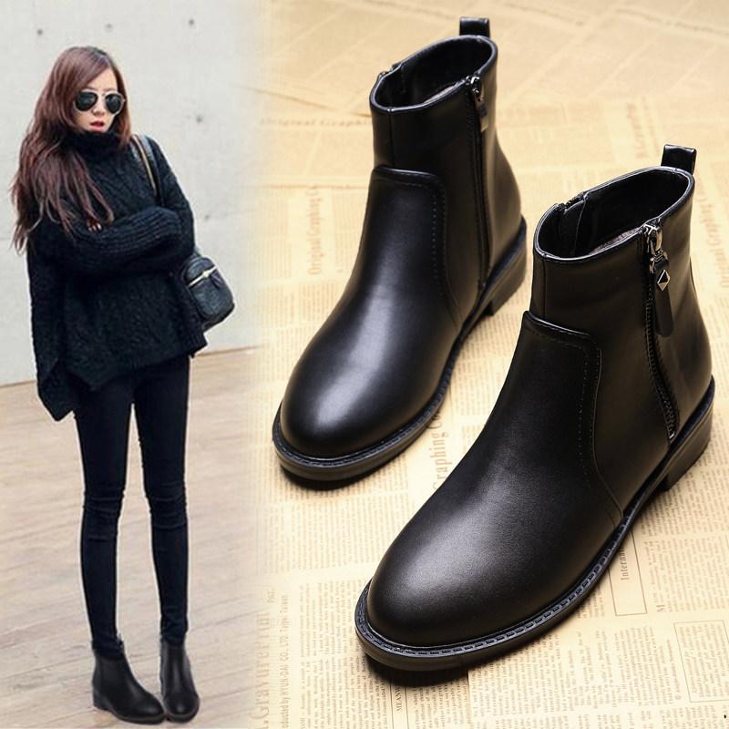 靴子女短靴2018秋冬季绒面马丁靴女平底大码女靴加绒时尚女鞋4143