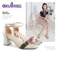 依思q夏季新款时尚一字带韩版百搭小清新粗跟高跟凉鞋女
