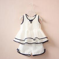女童夏装洋气休闲套装裙宝宝夏季无袖背心裙4短裤两件套5岁 CY白色套装