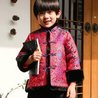 男童唐装冬装儿童汉服新年装拜年服宝宝男抓周礼服中国风童装 花开富贵 仅上衣