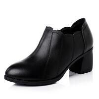2018新款中跟女单鞋韩版百搭真皮女士皮鞋秋季粗跟青年黑色小皮鞋 黑色 套脚款