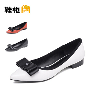 Daphne/达芙妮旗下鞋柜 女鞋蝴蝶结淑女尖头低跟浅口女单鞋