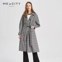 【2件1.5折价:209.9,可叠券】MECITY女装早秋羊毛时尚简约西装领系带长款风衣