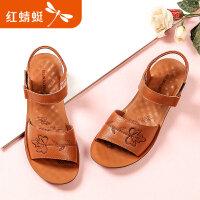 【红蜻蜓抢购,抢完为止】红蜻蜓女鞋夏季新款刺绣真皮软面妈妈鞋软面防滑中老年鞋