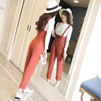 春季新款韩版修身套头长袖针织衫+高腰绑带显瘦背带裤时尚套装女