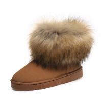 冬季新款圆头磨砂仿狐狸毛雪地靴加绒加厚棉鞋女鞋休闲保暖短筒靴