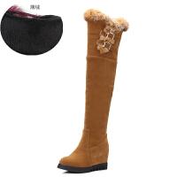 冬季雪地靴女加厚加绒高筒长靴过膝长筒平底40大码41内增高43棉靴SN8775 黄色 内增高薄绒内里