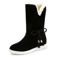 秋冬新款女式学生欧美英伦时尚绒面雪地靴圆头中跟内增高防滑