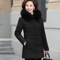 №【2019新款】送中老年人的女装中长款羽绒服妈妈装冬装白鸭绒大衣中年女加厚外套