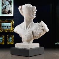 装饰摆件送朋友开业客厅抽象人物礼品创意大卫雕塑砂石家居工艺品