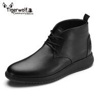 Tigerwolf虎狼公社 秋冬季英伦风男鞋运动风中帮休闲皮鞋男士高帮鞋厚底板鞋短靴