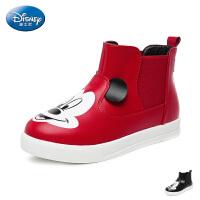 【119元任选2双】迪士尼Disney童鞋2017冬季儿童靴子男女童加绒短靴天鹅绒户外休闲靴 (5-10岁可选)