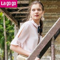【5折价129.5】Lagogo/拉谷谷2018年夏季新款小清新宽松学院风女衬衫HACC334M19