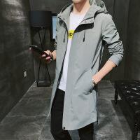 男士风衣中长款连帽外套加绒帅气修身夹克秋冬季男装韩版 5X