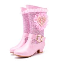 爱莎公主靴2018冬季新款女童高跟靴子儿童高筒靴加绒棉鞋