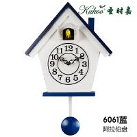 布谷鸟钟表欧式实木简约创意石英钟咕咕钟卧室地中海客厅儿童挂钟 12英寸