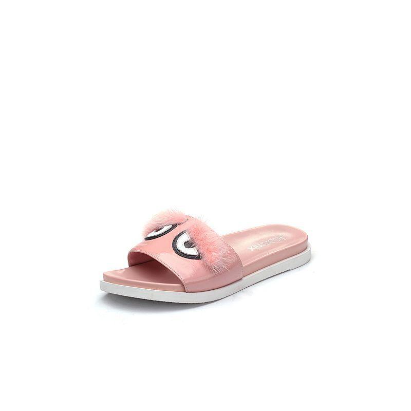 Teenmix/天美意2018夏漆牛皮趣味图案舒适平跟女拖鞋DY609BT8