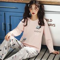 睡衣女秋套装两件套长袖韩版可爱少女空调服春秋可外穿家居服