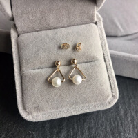 14k包金防过敏保色正圆天然珍珠耳钉几何三角形简约耳饰