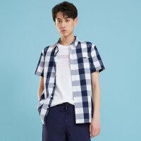【1件3折到手价:46.8】美特斯邦威格子衬衫男短袖新款夏季学生潮流港风文艺男士衬衣
