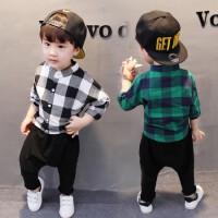 婴儿童装男童秋装格子套装休闲两件套小孩衣服