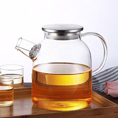 普智 加厚花茶壶 玻璃茶具 耐热高温玻璃水果茶壶 冷水壶 泡茶壶 大容量养生壶玻璃壶