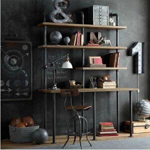 幸阁 铁艺实木百变水管组合书柜桌 书架置物架仿古做旧壁挂柜
