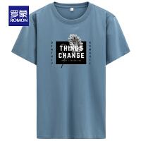 【2折预估到手价:44叠券更优惠】罗蒙男士短袖T恤2021夏季薄款时尚休闲透气上衣青年圆领印花T恤衫