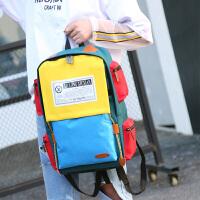 学院风大学生书包男高中学生女帆布韩版双肩包女背包大容量旅行包;