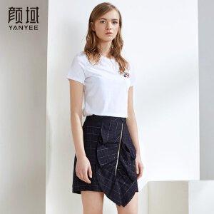颜域品牌女装白色T恤女短袖女简约绣花圆领2018新款韩版夏装上衣
