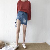 牛仔半身裙女春夏新款不规则撕边破洞做旧牛仔A字裙短高腰包臀裙