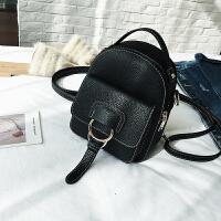 新款撞色小双肩包女韩版休闲多用迷你百搭小背包旅行小包包潮 黑色 MJ1780