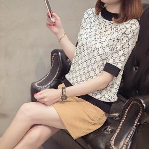2018春夏女装提花短袖韩版中袖短款套头衫时尚冰麻修身打底上衣潮