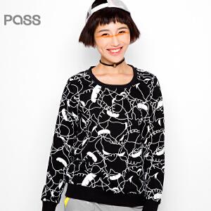 PASS原创潮牌秋装 潮流弯曲线条个性图案宽松长袖套头卫衣女6530521126