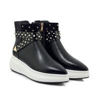 2018新款女鞋真皮切尔西靴尖头坡跟马丁靴女英伦风加绒及裸短靴子软底 黑色 单里