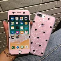 粉色贝壳纹爱心苹果6s钢化膜iphone7plus全屏手机彩膜8p防爆X贴膜