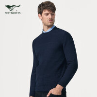 七匹狼男士毛衫长袖毛衣男圆领套头针织衫时尚休闲男装