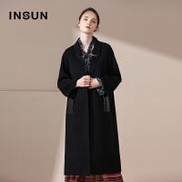 INSUN/恩裳商场同款气质摩登100%羊毛修身中长款毛呢大衣外套