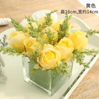 仿真花假花绢花玫瑰套装样板房摆件客厅餐桌玻璃花艺摆设软装饰品