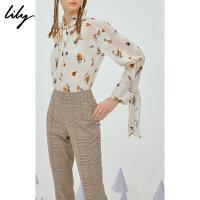 【超品日2折价129.8元】【SMART系列】Lily春新款女装系飘带含吊带衬衫118340C4222